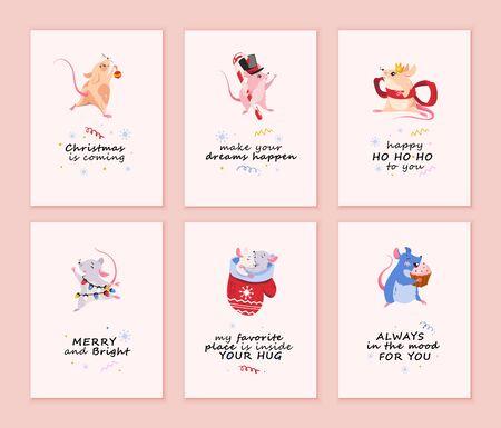 Cute fat mice, vector illustration.