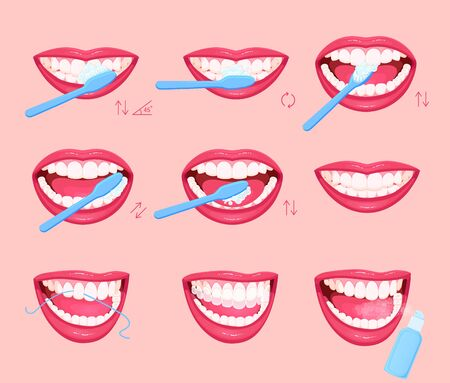 Teeth cleaning and dental care illustration: rinse aid, dental floss, whitening. Toothbrush and toothpaste for oral hygiene.