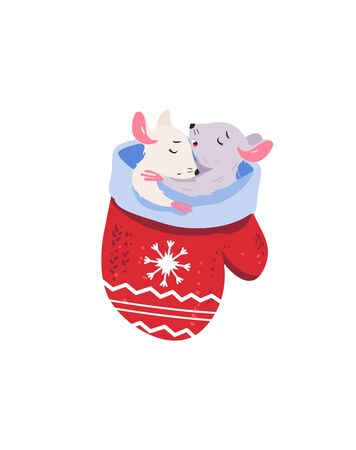Family of mice in a mittens house. Vector isolated picture of a holiday mouse. Animal character, pet mouse.