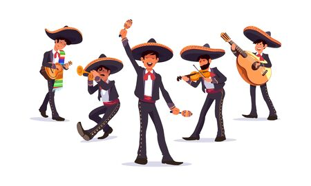 Music band wearing Mexican sombrero hat. Mariachi Singer. Mexican carnival musicians. Mariachi band.