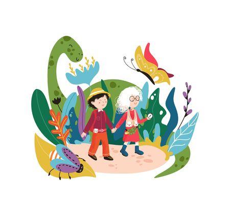 Kinderphantasiewort mit magischen Pflanzen und süßen Monstern. Kinderzeichentrickfiguren, die in einer Traumwelt spielen.