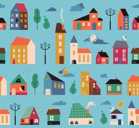 Cartoon geometric houses seamless pattern. Flat design. Hand drawn trendy illustration. Big city pattern. Streets elements: lights, weather.
