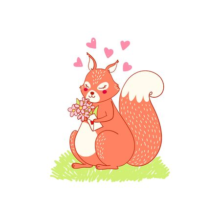 Cute lovely animalistic illustration squiring character. Squirrel in love, spring card about love, postcard, holiday gift. Squirrel vector cute animal