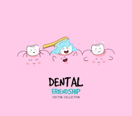 Cute tooth characters. Dental personage vector illustration. Children dentistry. Oral hygiene, teeth cleaning. Healthy Gums.