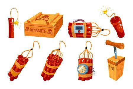 Conjunto de iconos de dinamita antiguo de dibujos animados aislado en blanco. Ilustración de bombas y objetos explosivos. Bomba de dinamita roja con reloj temporizador. Ilustración vectorial