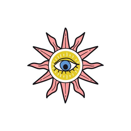 Evil eyes icon, talisman print in hand drawn style. Evil Eye, Sun element in tattoo vintage style.