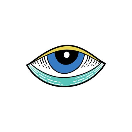 Evil eyes vintage icon, talisman print in hand drawn style. Evil Eye element in tattoo vintage style.