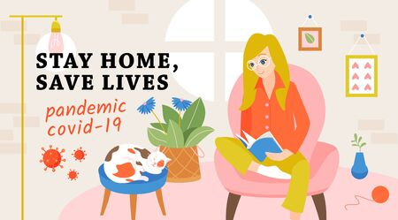 Stay home, save lives concept. Woman at home. Banner urging people to stay in quarantine at home, to be saved from pandemic covid-19.