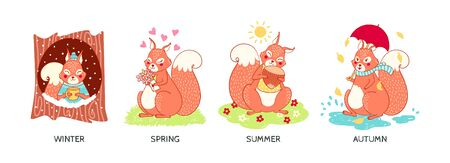 Cute squirrel in different seasons, forest animal vector children's illustration, print for poster, t-shirt, card. Ilustracja