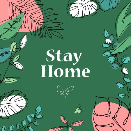 Stay home quarantine phrase vector lettering. Typography with doodle flowers. T shirt print, postcard, banner, social media design element Ilustracja