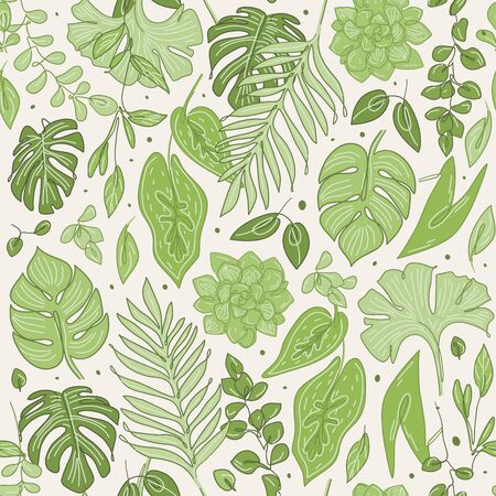 Leaves and flowers doodle. Sketch texture seamless floral  in green colors. Vector illustration.