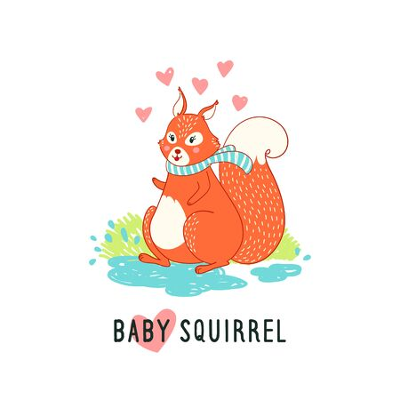 funny illustration with text Baby Squirrel. Funny card with cute squirrel vector children's illustration, print with phrase, poster, t-shirt design.