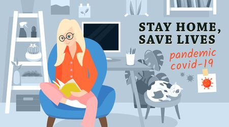 Stay home, save lives concept. Woman working from home. Banner urging people to stay in quarantine at home, to be saved from pandemic covid-19. Ilustracja
