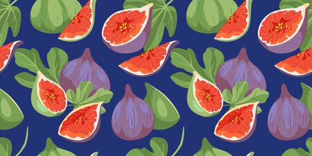 Tropical summer fruits seamless pattern. Fig tree cover with leaves and fruits in hand drawn style. Vector fabric design with figs, different varieties of fruits in bright colors. Vettoriali