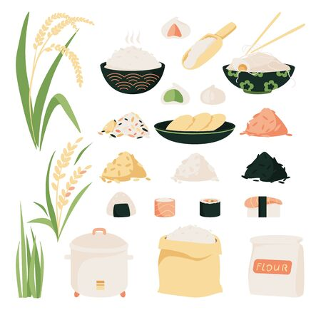 Rice vector icon set. Collection of icons of rice variety, plants from plantation and isolated products.