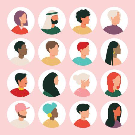 Sammlung von Avatar-Charakteren für Männer und Frauen. Verschiedene Nationalitäten. Blond, brünett, afroamerikanisch, europäisch, asiatisch, muslimisch.