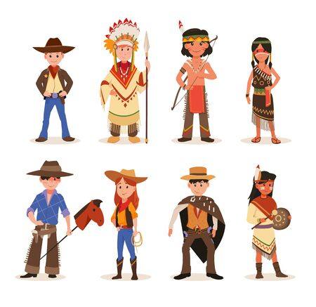 Children playing in American Indians and Cowboys characters. Set of cartoon wildwest characters cowboy, sheriff. Wild west cartoon.