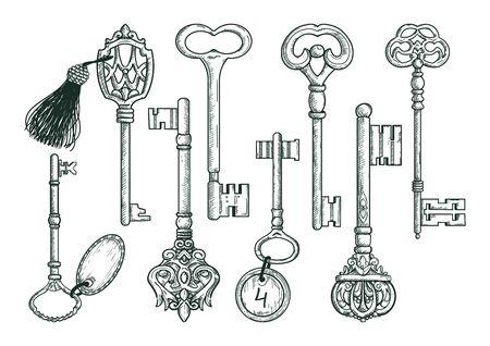 Vintage keys set in sketch style isolated on white background. Old design. Vintage graphic elements for prints. Illustration