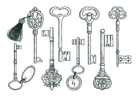 Vintage keys set in sketch style isolated on white background. Old design. Vintage graphic elements for prints. Иллюстрация