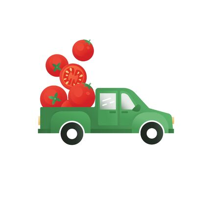 Tomatoes in a truck vector concept. Vegetable delivery illustration. Farm Tomatoes Icon.