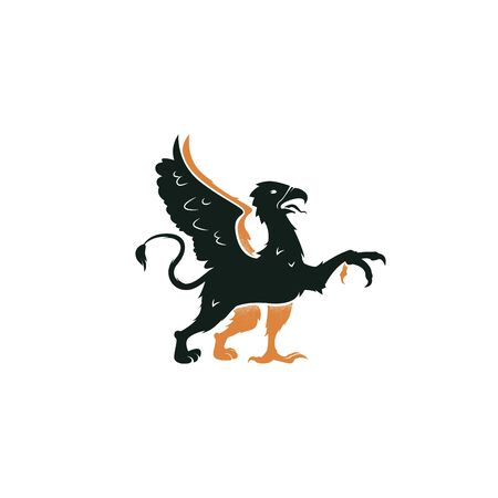 Heraldic griffin passant of the family crest. Vintage mythical animal with body of a lion, an eagle head vector emblem.