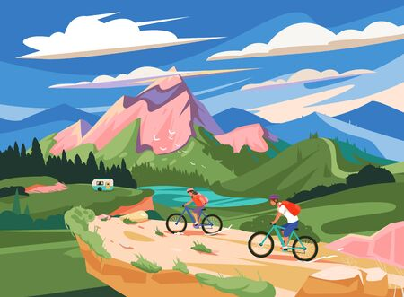 Mountain bike races. Travel and Camping, Mobile Home vector illustration. Mountain landscape.