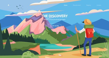 Vector illustration for tourism banner, slider design. Adventure of a young man in the mountains, travel on hiking trails.
