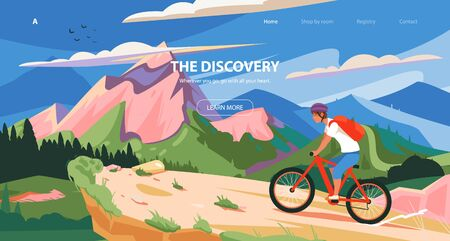 Mountain bike races. Vector illustration sport, exploration, tourism. Cycle sport banner, slider design. Ilustracja