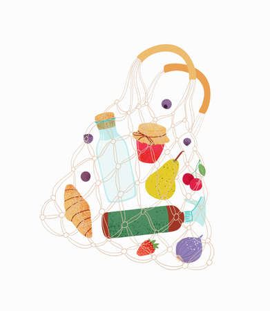 Shopping bag. Grocery purchases, turtle nets bag with natural food, organic fruits and vegetable. Ilustracja