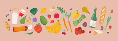 Grocery purchases, natural food, organic fruits and vegetable banner. Healthy eating print. Strawberry, onion, cheese, wine.