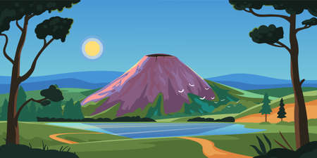 Sleeping volcano on a island, mountain landscapes. For books, banner, poster in flat style. Travel banner illustration, adventure theme. Ilustracja