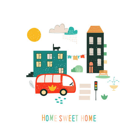 Abstract town illustration with cute textured house, funny bus and cars, inspirational quote. Vector funny print for card, poster, banner. Stock Illustratie