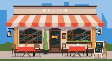 Cafe. Vintage wooden facade of a cafe with a canopy, wooden tables and chairs. Vector illustration of traditional popular place to meet, drink and eat.