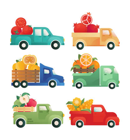 Delivery of vegetables, fruits. Cars with an open trunk. Vector vintage van, pick-up, trucks. Concept for advertising, logo, packaging. Fresh food supplier Stock Illustratie