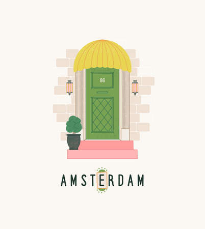 Amsterdam travel postcard. Holland city print with lettering design, beautiful door, exterior elements. Design for poster, t-shirt. Stock Illustratie