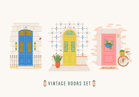 Travel postcard. Doors city print with exterior elements: plants, azulejo tile, forging. Design for poster, t-shirt.