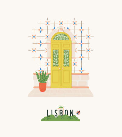 Portugal travel postcard. Lisbon city print with exterior elements: beautiful door, azulejo tile. Design for poster, t-shirt.