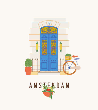 Amsterdam city, beautiful doors, exterior elements. Design print for postcard, t-shirt. Vintage door, beautifully lettering design Stock Illustratie