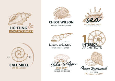 Natural logos. Set of hand drawn nature labels and badges. Marine symbol, seashells, oysters - graphic element. Seafood restaurant logo design. Stock Illustratie
