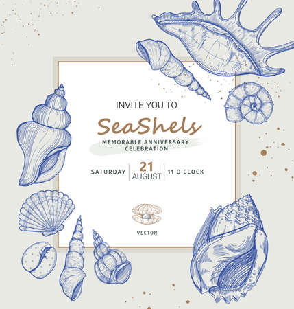Vector invitation design in the marine theme. Summer tropical frame with seashells and mussels illustration. Sea nature theme for card in sketch style.