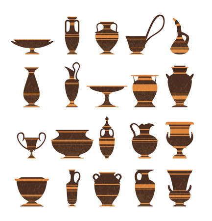 Collection of clay pots, old jugs and amphoras isolated icons on white background. Symbols of antiquity, archaeological finds. Ilustracja