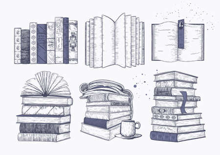 Stacks of books, books and magazines in a row and on top of each other. Concept of reading, sketch print for bookstores, libraries, cafes Stock Illustratie