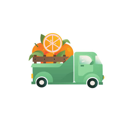 Citrus Oranges fruit in a truck vector concept. Farm fruit icons, delivery illustration.