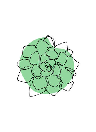 Stone rose succulent One Line drawing art. Continuous line nature icon Stock Illustratie