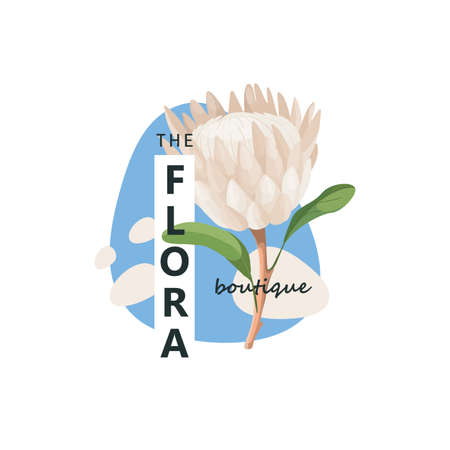 Protea flower logotype concept - frame with copy space for text - vector emblem for fashion, spa, beauty.