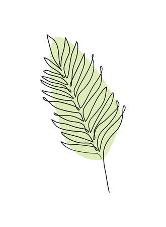 Palm leaf continuous line icon for spa salon or organic cosmetics. Abstract minimal vector illustration. Modern decor.