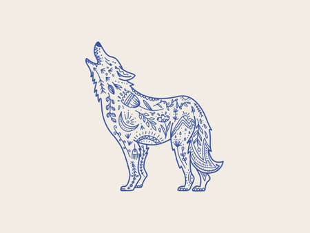 Wolf  nature  graphic element, textile print. Wild wolf totem animal, vector hand drawn illustration.