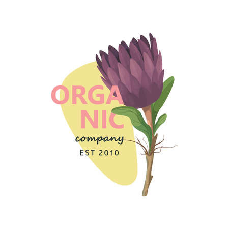 Nature eco  with floral element in cartoon style, logotype concept - frame with copy space for text - emblem for fashion, spa, cosmetic.