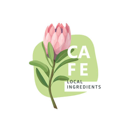 Nature Protea   with floral elements in cartoon style, logotype concept - frame with copy space for text - emblem for fashion, spa, cafe.