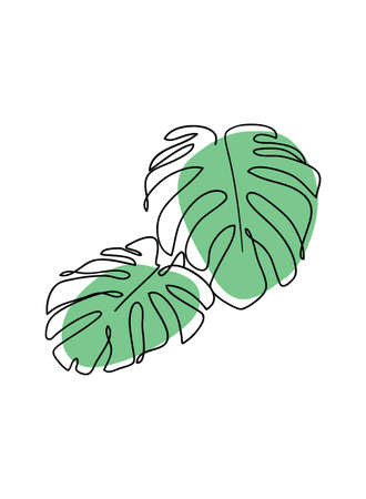 Monstera continuous line icon for spa salon or organic cosmetics. Abstract minimal vector illustration. Modern decor.
